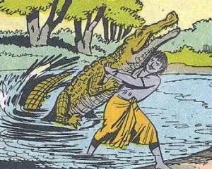 Arjuna pulls out the crocodile