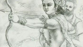Drona providing knowledge of Brahmastra to Arjuna