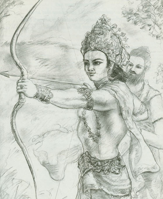 Drona providing knowledge of Brahmastra to Arjuna