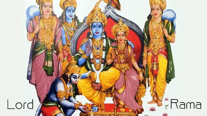 Lord Rama with his brothers, Sita and Hanumana
