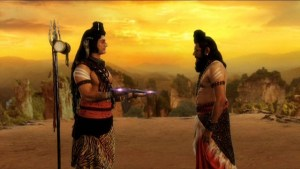 Lord Shiva giving axe to Parshuram