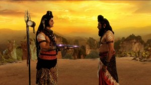 Lord Shiva giving axe to Parshuram
