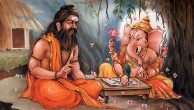 Vyasa and Ganesha writing Mahabharat