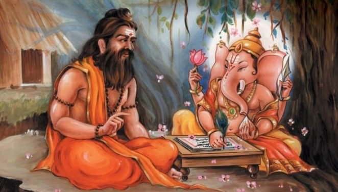 Vyasa and Ganesha writing Mahabharat