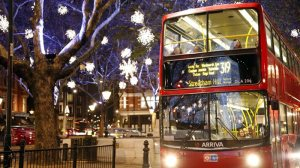 Lovely double-decker bus and snowflake lights