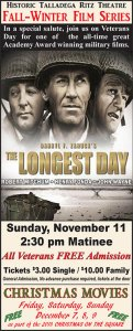 The Longest Day -- Movie -- Free Admission for Veterans @ Historic Ritz Theatre | Centreville | Alabama | United States