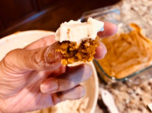 brown butter pumpkin bar bite