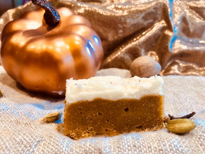 Brown Butter Pumpkin Pie Cake Bars & Cream Cheese Frosting