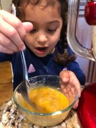 Mixing up eggs and vanilla