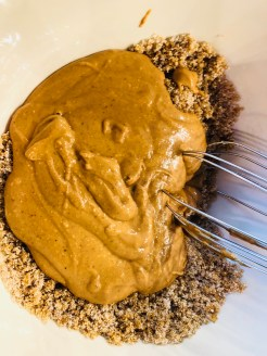 Mix peanut butter into sugars