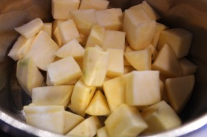 Peeled and cut up potatoes