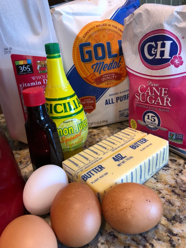 Ingredients for a butter cake