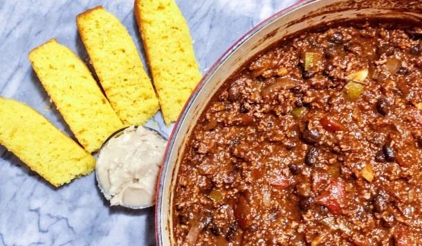 Beef chili with honey cornbread