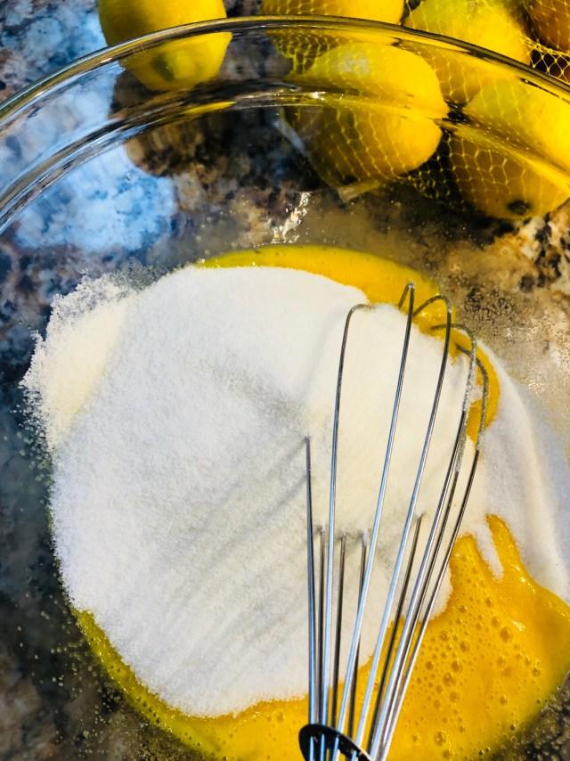 Granulated sugar and eggs