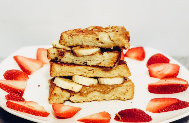 Almond butter-banana stuffed French toast