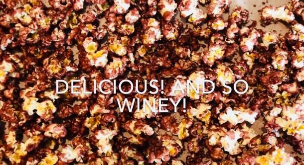 Red wine coated popcorn