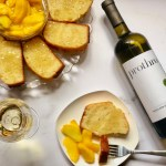 white wine cake with macerated peaches