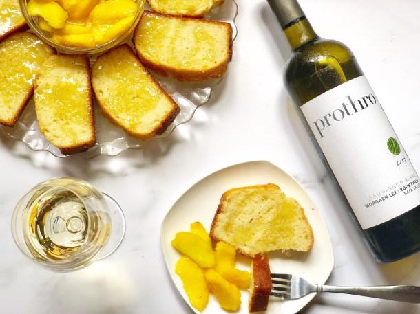 white wine cake with macerated peaches