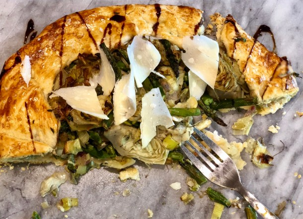 vegetable galette with parmesan cheese