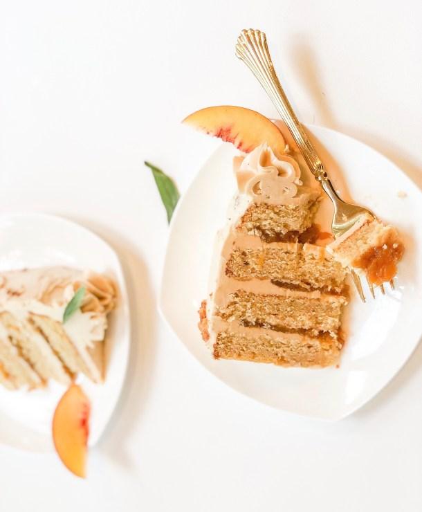 peach and bourbon cake