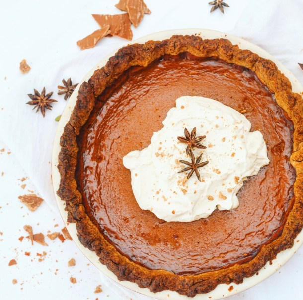 caramelized white chocolate pumpkin pie with pecan crust