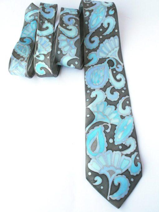 Silver Blue Paisley tie