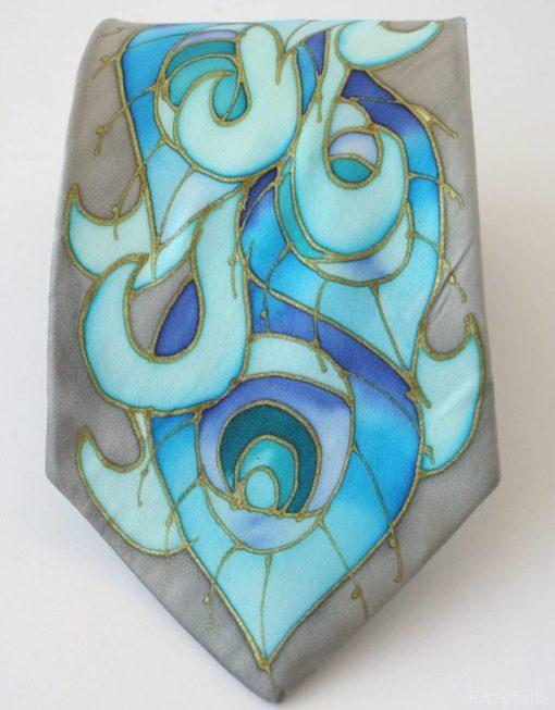 Grey peacock tie