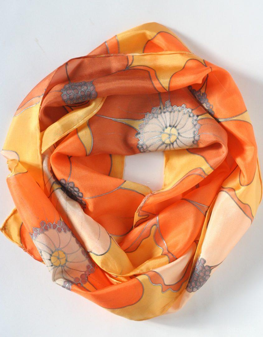 34556816c63d5 Orange Flower Scarf – Ritzy Silk