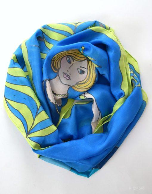 Blue Flapper Girl Silk Scarf