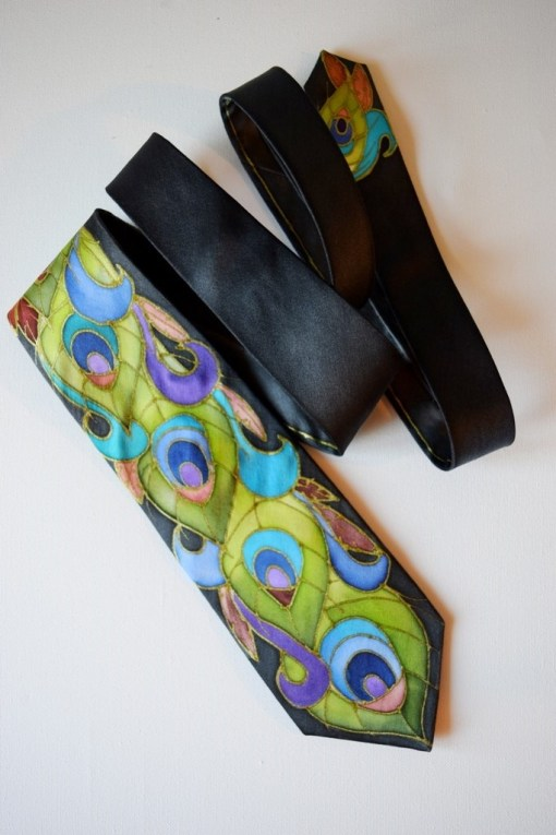Peacock Feathers silk Tie