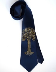 Blue Gold Tree Tie