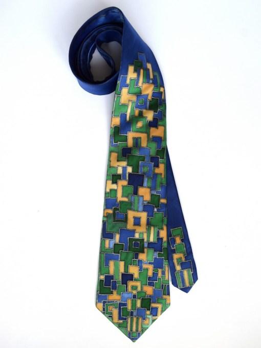 Blue Green Squares necktie