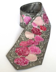 Floral Pink Gray Tie