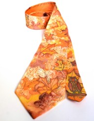 Hand painted Orange Maple Leaves Tie