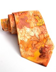 Orange Maple Leaves silk Tie
