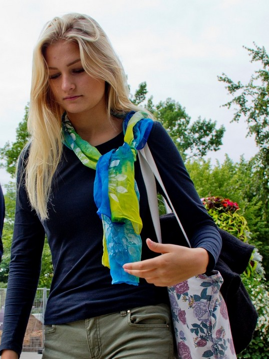 Hand Painted Blue green yellow silk scarf