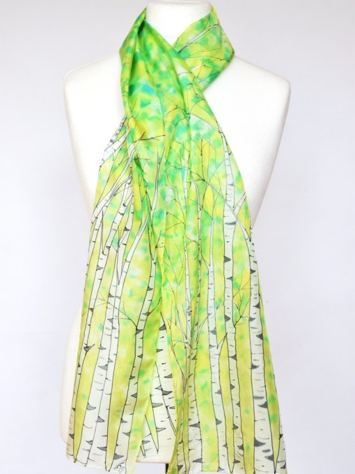 Green Birch silk scarves