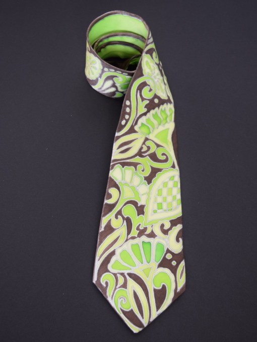 Green Brown Paisley Tie Dapper