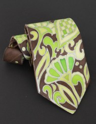Green Brown Paisley Tie Groomsmen