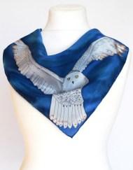 Snowy Owl Blue Scarf