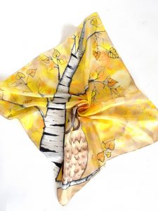 Birch Trees and Owls Yellow Scarf