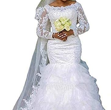 Rimoo Women's Lace Mermaid Wedding Dresses with Long Sleeves Plus Size Bridal Dresses Wedding Gowns for Women 2020
