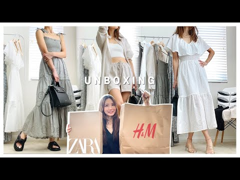 [Summer🏖Unboxing] Zara Dress H&M Try on Summer Clothes together (feat. Teddy Blake Bag) |  Summer Zara H&M Unboxing (feat. Teddy Blake)