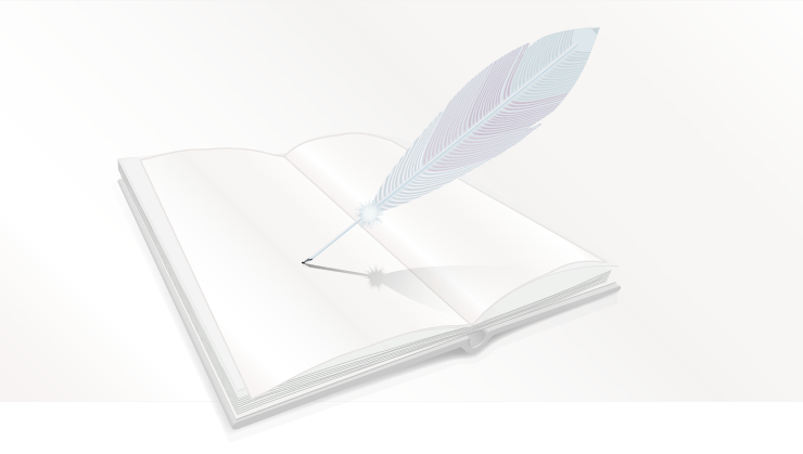 Open Book With Feather Pen Vector Illustration