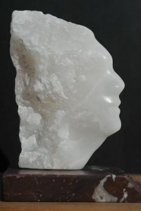 sculpture de profil, de visage d'Indien de Dominique Rivaux