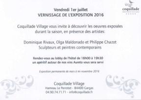 Invitation au Vernissage de Coquillade 2016