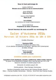 Vernissage Salon d'Automne - Champs Elysées - Paris - Mercredi 12 octobre 2016 de 18h à 22h ouvert du jeudi 13 au 16 octobre 2016 de 11h à 19h