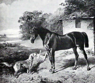 Ada, den första generationen av Yellow retrievers. Målning av L.G. Goddard, 1873.