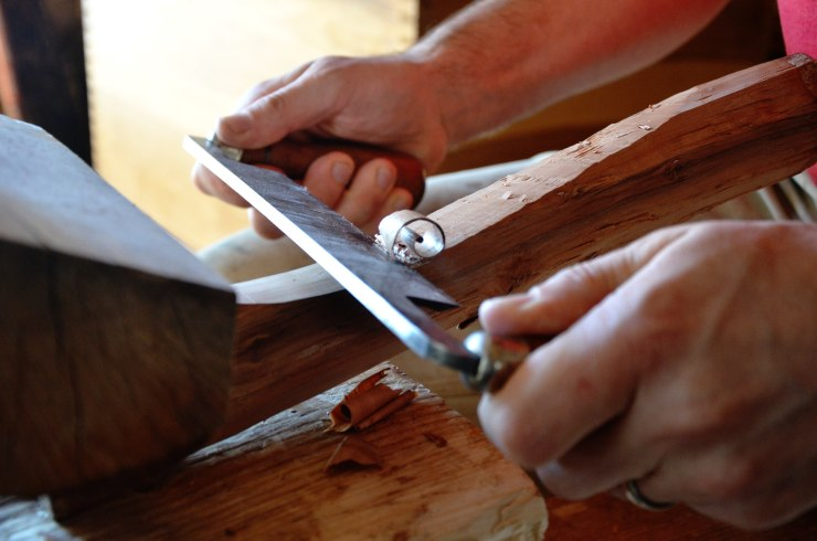 The drawknife can be used for removing bark, roughing out, and also shaping.