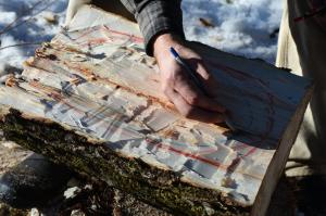 Marking out a hewn bowl on a riven section of poplar, for green woodworking.